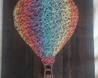 Rainbow Hot Air Balloon String Art