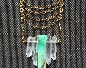 Chrysoprase and Quartz Long Necklace