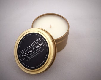 Oakmoss & Amber Natural Soy Wax Candle - 6oz Tin