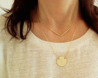 Gold Wide V Necklace / Pointed Necklace / Triangle Necklace / Minimal Jewelry / Chevron Jewelry / Geometrical Jewellery / Minimal / N273