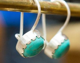 Small dangle earrings, Sterling silver earrings, Bezel set earrings,  Hook Earrings, Dainty turquoise  Bezel Set Earrings, Gemstone earrings