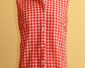 Perfect Vintage Picnic Blouse, Red and White, M/L