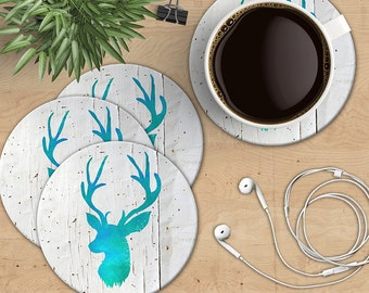 Deer Head Coaster Set, Boho Stag Head on White Wood Coasters, Turquoise Deer Coasters, Boho Chic Coasters