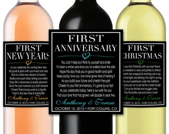 Marriage Firsts Milestones Poems Wedding Gift Wine Champagne Bottle Labels - First Anniversary Honeymoon Baby Fight Valentine - Item #MM9B