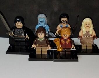 Game of Thrones Set Of 6 Minifigures Daenerys Khal Drogo Jon Snow Arya Stark Tyrion Lannister White Walker Building Toys (LEGO Compatible)