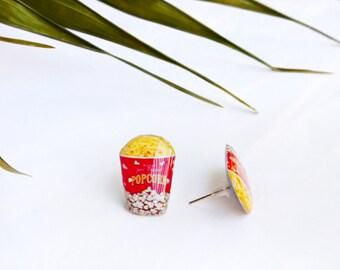 Popcorn studs / Popcorn earrings / Cinema earrings / Movies lover gift / Funny earrings / Funny gift idea / Popcorn lover studs