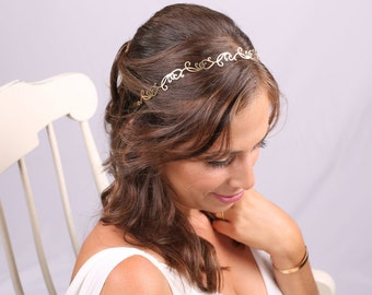 Bridal Headband, gold Headband, Bridal Headpiece, Ornament Headpiece,Golden Headband, Greek Headband, Gold Hair Accessory, Gold Head piece