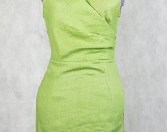 Green gathered dress