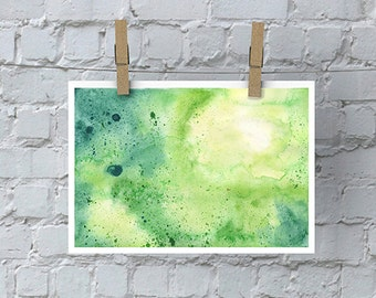 Hand Painted Abstract Watercolor Composition in Yellow and Green - Giclée Print of My Original Watercolor Painting