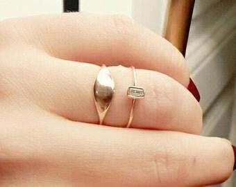 Rose Gold Signet Ring - Engagement Ring - Bridesmaid Gift