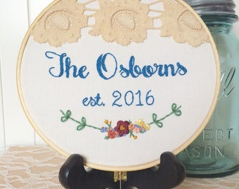Custom Family Name Embroidery Hoop Art, Customized, Personalized Family Name, Personalized Gift, Wedding Gift, Gifts For Brides