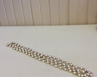 Faux Pearl Bead And Gold Tone Metal Necklace