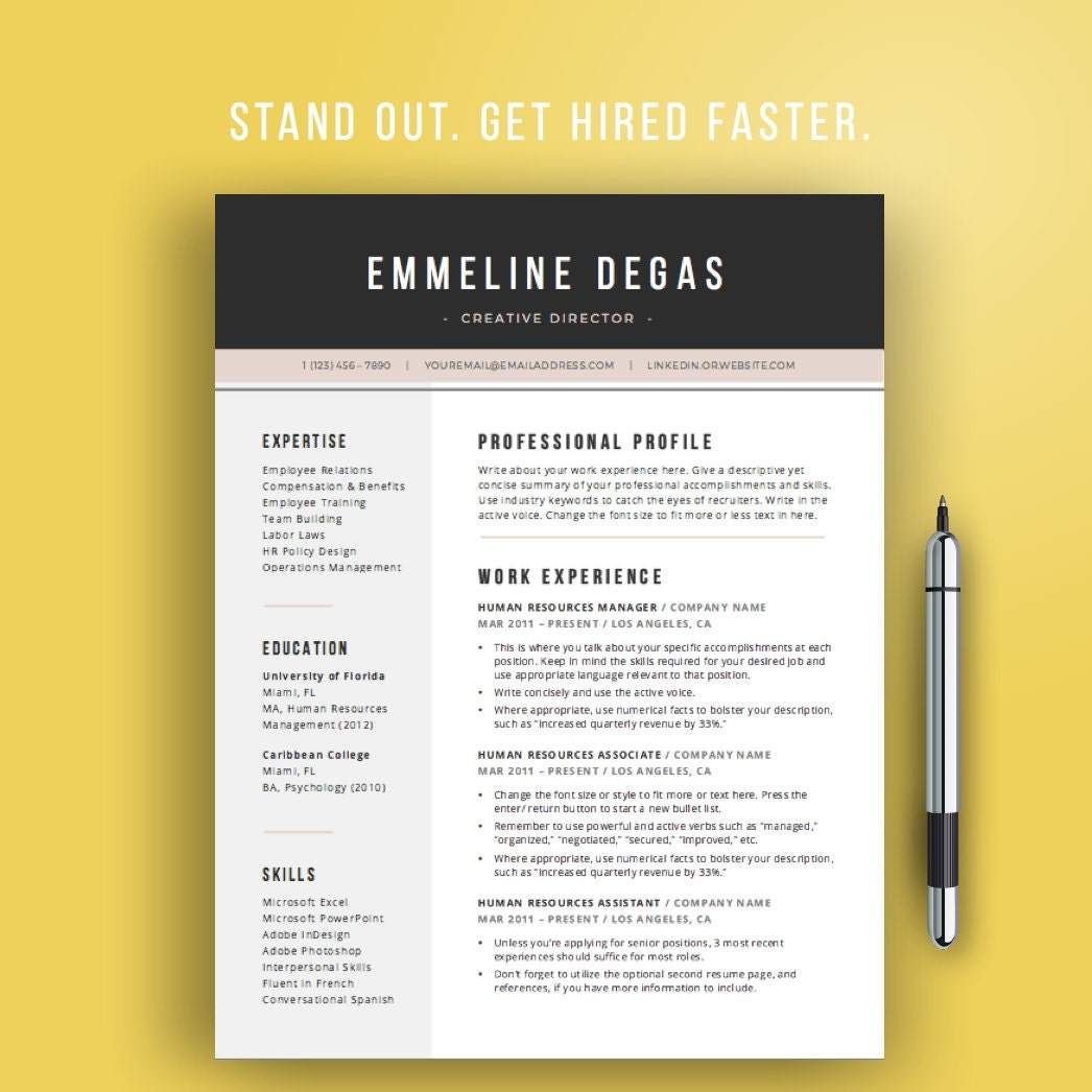 professional resume template for word 4 pages cv template