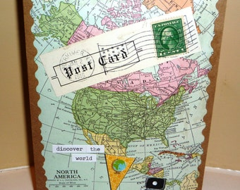 Discover the World Handmade Greeting Card - Blank Inside