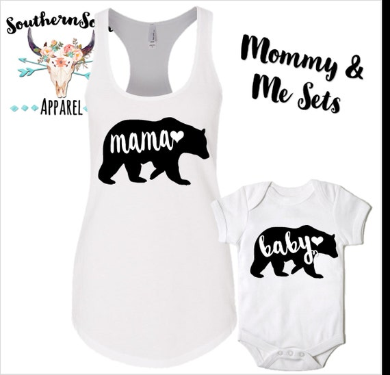 Mama Bear Baby Bear Mommy and Me Shirts, Mommy and Me Tanks, Mom and Daughter Shirts, Baby Creeper