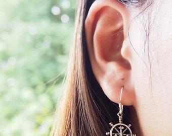 Anchor with Wheel Dangle Earrings, Nautical Jewelry 925 Sterling Silver, Beach Ocean Jewelry - GR.22