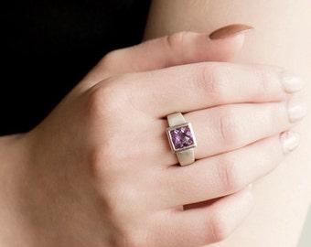 Sterling Silver Amethyst Ring, Silver Amethyst Ring, February Birthstone Ring, Purple Stone Ring, Genuine Amethyst Ring, Birthday Gift