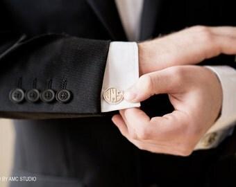 Custom Initial Cuff Links Personalized Monogram Name Cufflinks Mens Wedding Groomsmen Silver or Gold High Polish and Sandblast Letters
