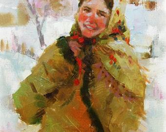 ORIGINAL OIL PAINTING by Ukrainian artist D.Hyrniak, Female portrait, Impressionist European Ukrainian Art, Handmade One of a kind artwork
