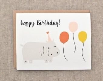 hippo birthday card - happy birthday hippo - birthday card -  hippo card - cute birthday card