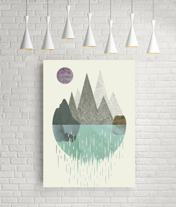 Wall art minimalist print abstract watercolor artwork by for Minimalist wall decor