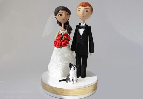Wedding Cake Topper Rustic Fairy Tale Wedding Cake Figurine Romantic Decor Bride Groom Clay Doll Sculpture Love Fun Caketop Princess Style