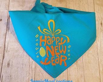 Embroidered Happy New Year Dog Bandana