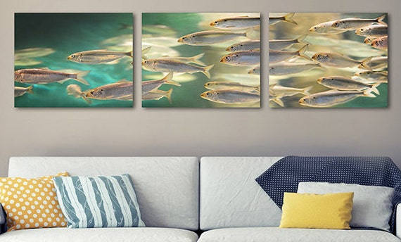 School Of Fish Triptych Wall Art, 3 Piece Fish Wall Art, Digital Download,  Printable Fish Art, Downloadable Art