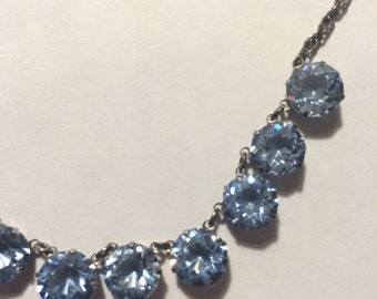 Vintage Sterling and Blue Crystal Necklace