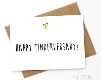 Funny Tinder Card, Funny Valentine's Day Card, Love card, Card for boyfriend, Card for girlfriend, Anniversary card, Tinderversary