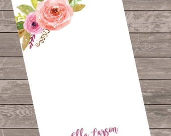 Personalized stationery//gift idea//notepad//custom note pad// watercolor floral notepad
