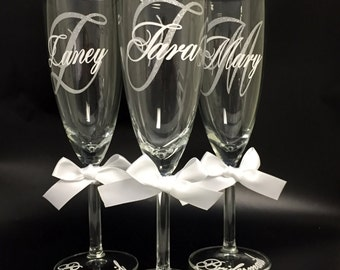 Bridesmaid Glasses,Bride and Groom Glasses, Glitter Vinyl Glasses, Personalized Glasses