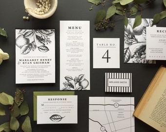 Citrus Botanical Invitation, Lemon Botanical Invite, Botanical Invitation, Classic black and white invitation, Florida invitation - DEPOSIT