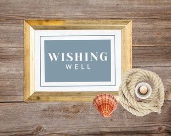 Wishing well sign, Wedding reception decor, Wishing well wedding, Printable wedding sign, Rustic wedding decor, Instant download