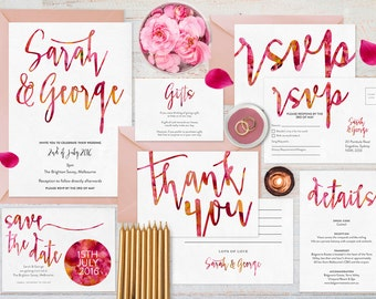 Pink wedding invitation set printable, Wedding set, Wedding stationery, Wishing well card, Save the date, Wedding suite, Watercolour set
