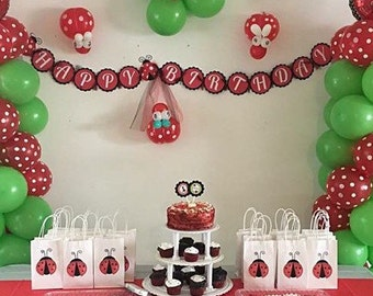 Lady Bug Birthday Banner-we can do any theme!