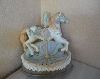 Vintage Emson Cast Iron Carousel Horse Doorstop Bookend Figurine