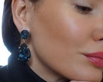 Angelina Dangle Earrings with Austrian Swarovski Crystals. Available in 2 Colors.