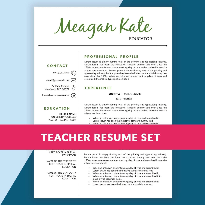 Teacher Resume Template Teaching Resume / Cover By ResumeSouk