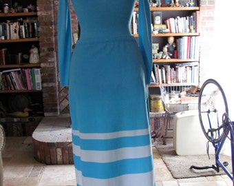 Vintage Long Sleeve Body Suit & Skirt Combo Baby Blue