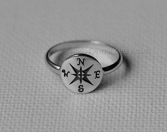 Compass ring, sterling silver compass ring, nautical ring, graduation gift, graduate ring, sterling silver ring, compass jewelry