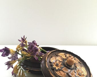 hand carved wood bowl - hippie boho decor - floral design