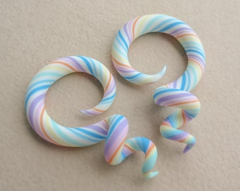 Rainbow Spiral Gauges, Fake Gauge Earrings, Spiral Plugs, Candy Ear Gauges, Pastel Fake Plugs, Rainbow Faux Gauges