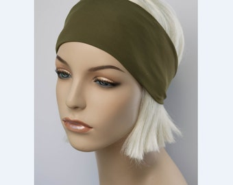 Matte Olive Green Solid Color Stretch Yoga Headband, Fitness Workout Accessory, Exercise Running Headband, Dance Headwrap, Non Slip