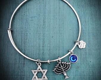 Happy Hanukkah ~ Adjustable Bangle Bracelet, Bangle Charm bracelet, Handmade Jewelry, Charm Bracelet, Custom Made, Gift for her