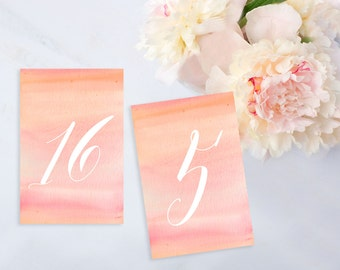 Instant Download: Pink Watercolor Calligraphy Table Numbers, 50 Tables! Print at Home PDFs