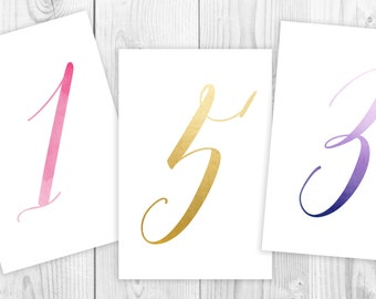 Personalized Wedding Table Numbers, Printable Watercolor Calligraphy Table Cards