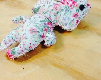 White Floral Small Plush Stuffed Bear
