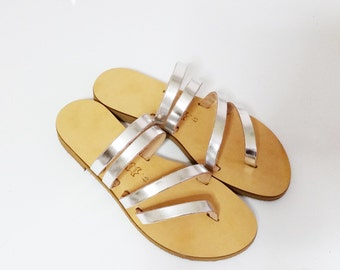 Greek Leather Sandals, strappy sandals, gladiator sandals, metallic sandals, shiny sandals
