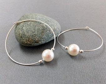 Large sterling silver crystal pearl hoop, Thin single pearl hoop earrings, White pearl earrings, Elegant pearl earrings, Wedding earrings